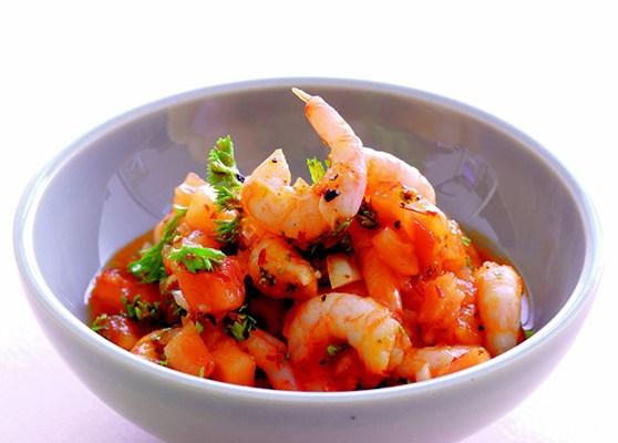 Marinerade räkor med chilisås
