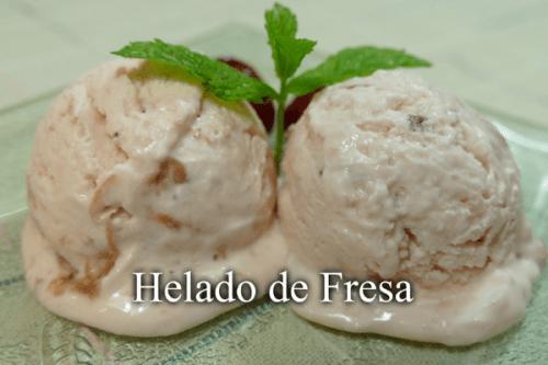 Helado de fresa sin heladera