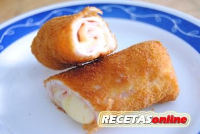 Flamenquines de pollo con jamón y queso - Recetas de cocina RECETASonline