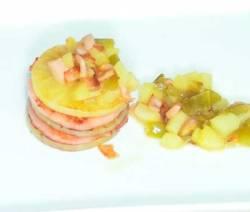 Milhojas de jamón y pera