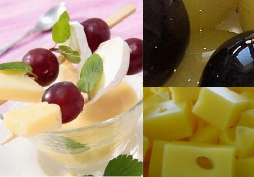 Brochetas de uvas con queso  Recetn
