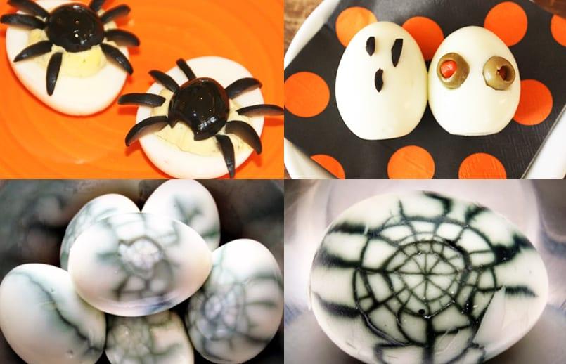 Huevos cocidos especial Halloween
