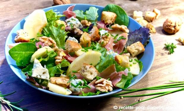 salade pommes noix roquefort jambon