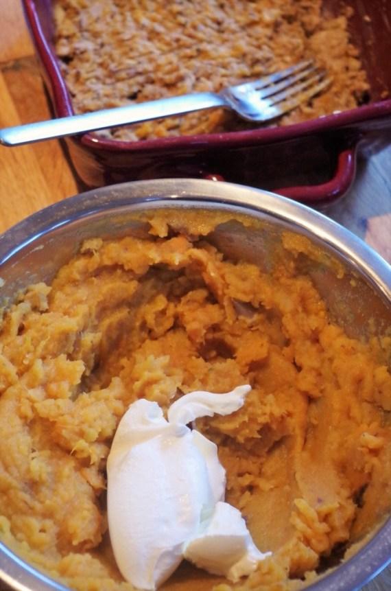Hachis de patates douces aux boudins blancs ©Recettes d'ici et d'ailleurs