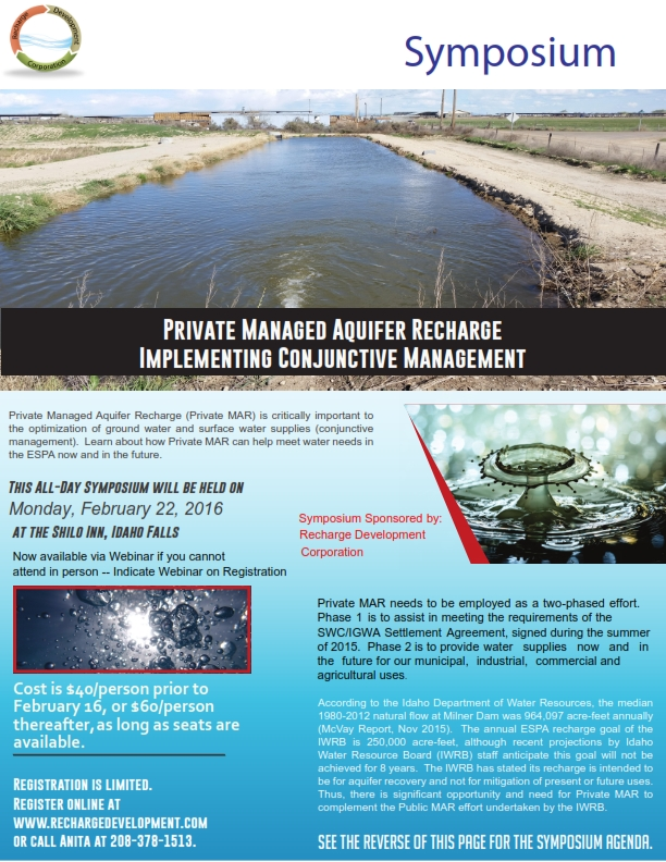 Symposium on Private Managed Aquifer Recharge - Idaho Falls
