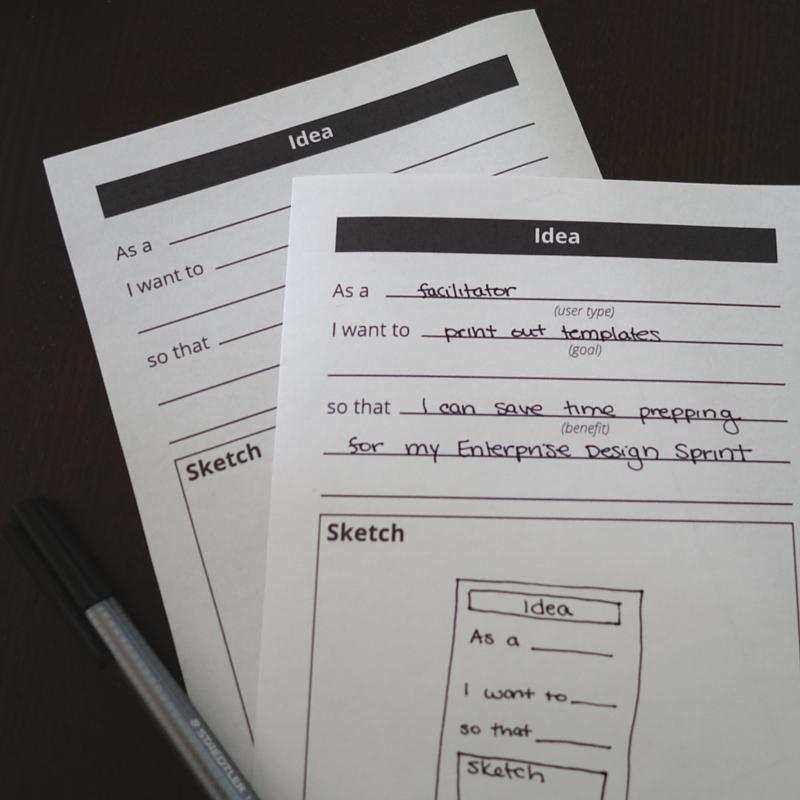Idea generation template printed