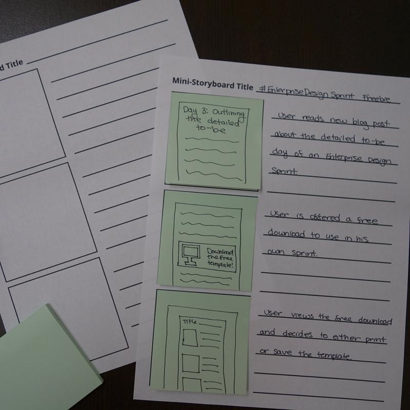 Mini-storyboarding template printed