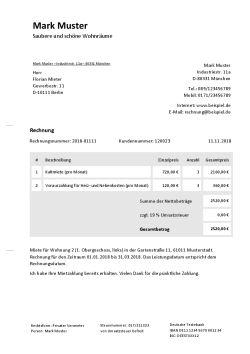 Rechnung fr Vermietung schreiben Kostenlose Vorlage