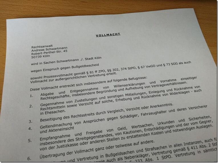 Rechtsanwalt Andreas Schwartmann Keine Entbindung ohne schriftliche Vollmacht Bußgeldbescheid Anwaltsleben