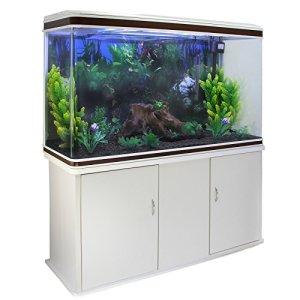 MonsterShop Aquarium Fish Tank & Cabinet avec Kit de démarrage Complet – White Tank & Black Gravel