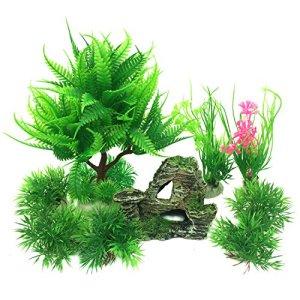 PietyPet Petit Taille Plantes d'aquarium Plastique Décoration et Rocher Polyrésine Grotte Ornement Decoration, 9 Pièces