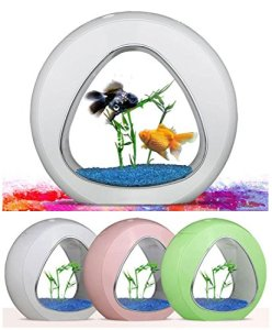 USB mini Aquarium Fish Tank, atmosphère chaleureuse lumière LED Bureau poisson Globe pour bureau chambre salon bureau Decor , white , l