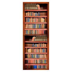 Wqq Autocollant de Porte Scène de la Maison Amovible Durable Imperméable Facile à Nettoyer Décoration Chambre Sticker Porte 3D Vinyl 77X200CM (30.3X78.7in),B