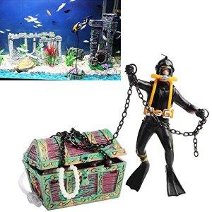 Yakamoz Chasseur de Trésor Ornement Aquarium Figure d'action de Poissons Diver Plongeur sous-Marine Treasure Chest Décor de Paysage de Réservoir Noir