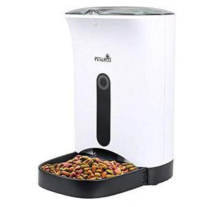 HPDOG Distributeur Automatique pour Chien Et Chat De 4,3 L, Distributeur Automatique D'Aliments pour Compris Un Enregistreur Et Une Minuterie NuméRique Programmable avec Moniteur