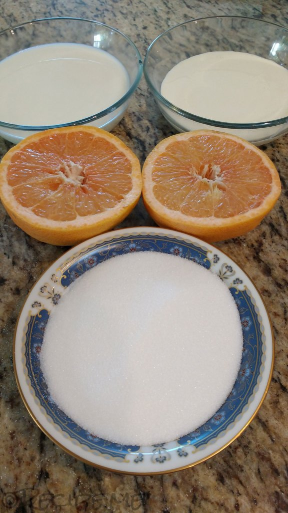 Homemade Grapefruit Gelato ingredients