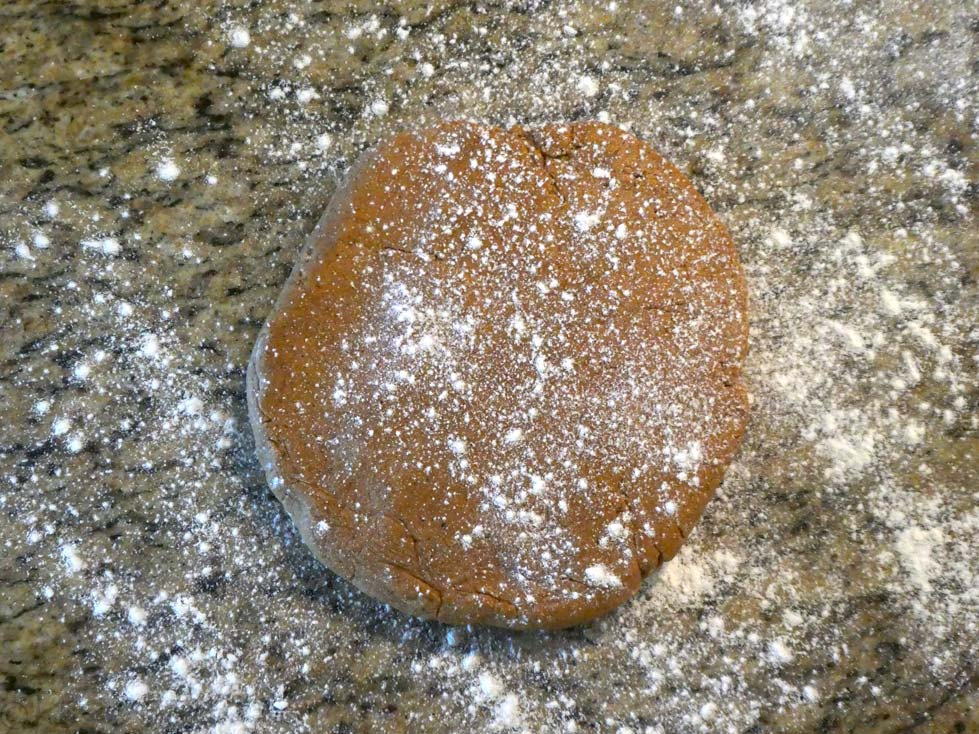 Gingerbread Biscuit - Step 4 - Flour and flatten dough
