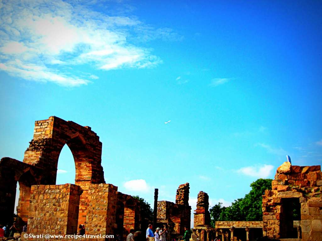 The ruins of the Quwwat-ul-Islam Mosque near Qutub Minar