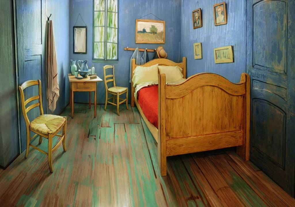 "Recreate of Van Gogh's 1888 painting ""Bedroom in Arles"" at Airbnb Photo Credit: Airbnb"