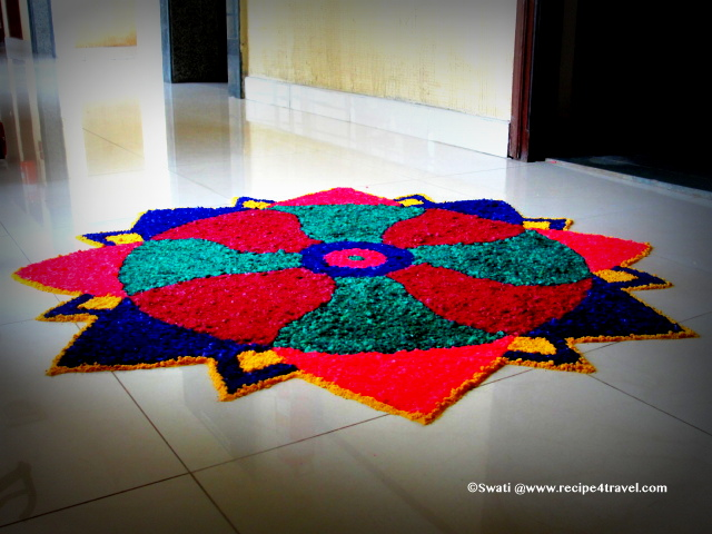Rangoli in front of the house during diwali