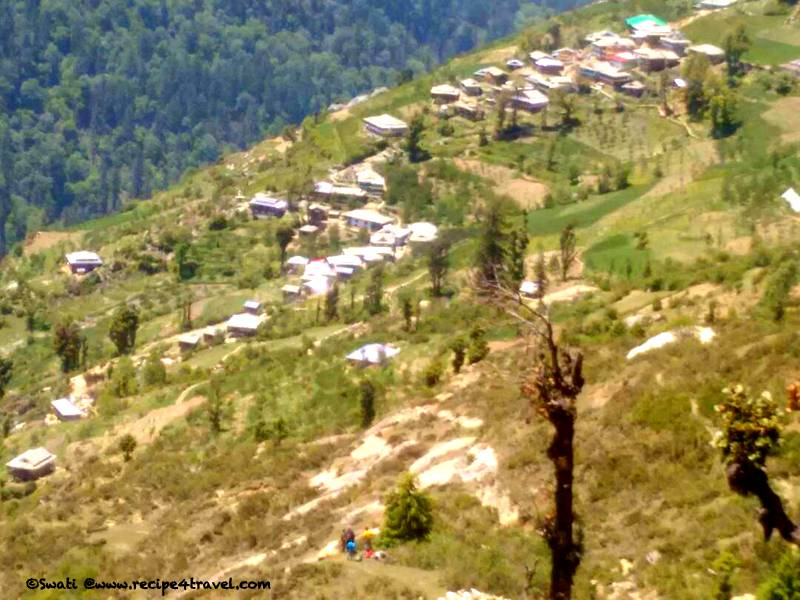 Close up of Shoja village, the first settlement during our descent. We had to go further to Ghiyagi as this village is not accessible by vehicles