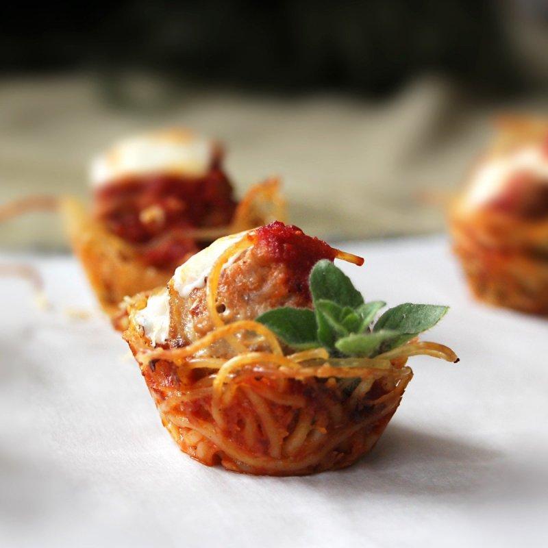 portable pasta mini turkey meatball and spagetti bites