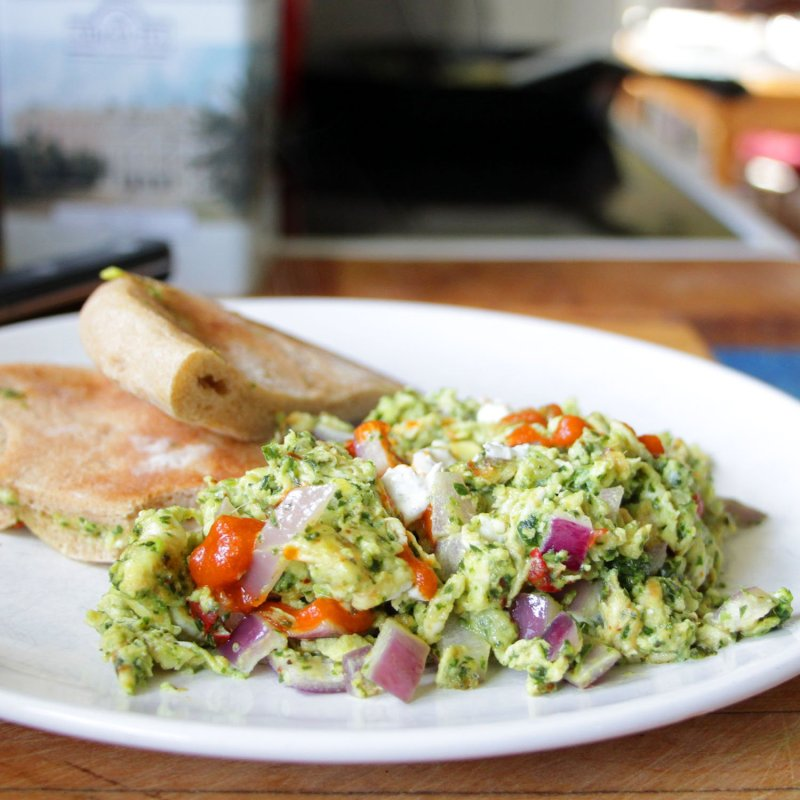 Simple, Quick, and Healthy. Kale Pesto and Goat Cheese Scramble.