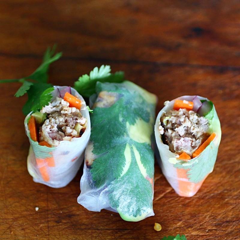 vietnamese style sausage rice paper wraps