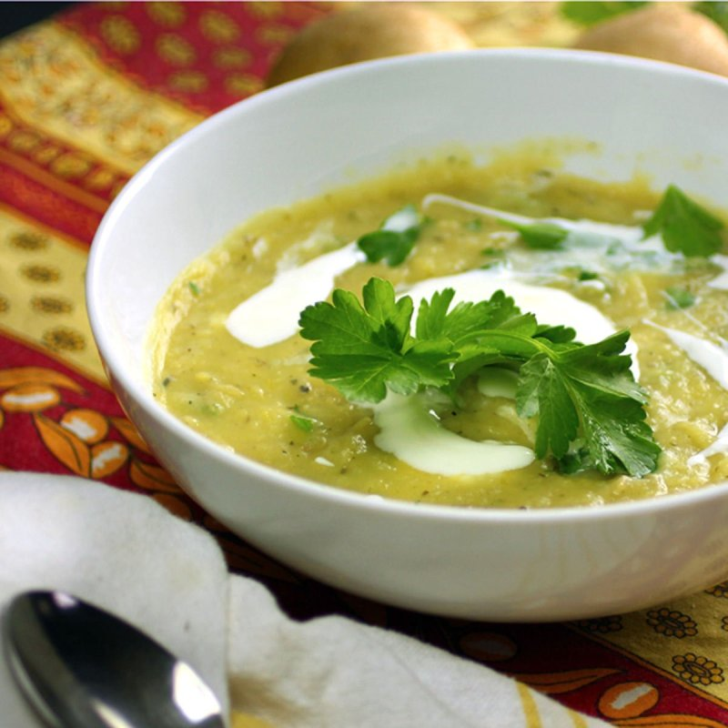Potato Leek Soup with yogurt and parsley garnish