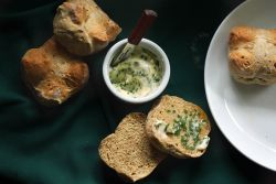 Individual Irish Soda Breads with chives and chive butter