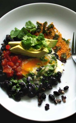 Crispy Cheesy Black Bean Breakfast (or lunch, or dinner)