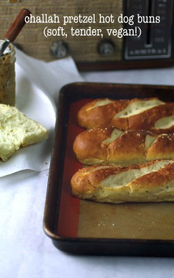 challah pretzel hot dog or burger buns (vegan!)