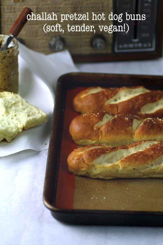 vegan challah pretzel hot dog buns