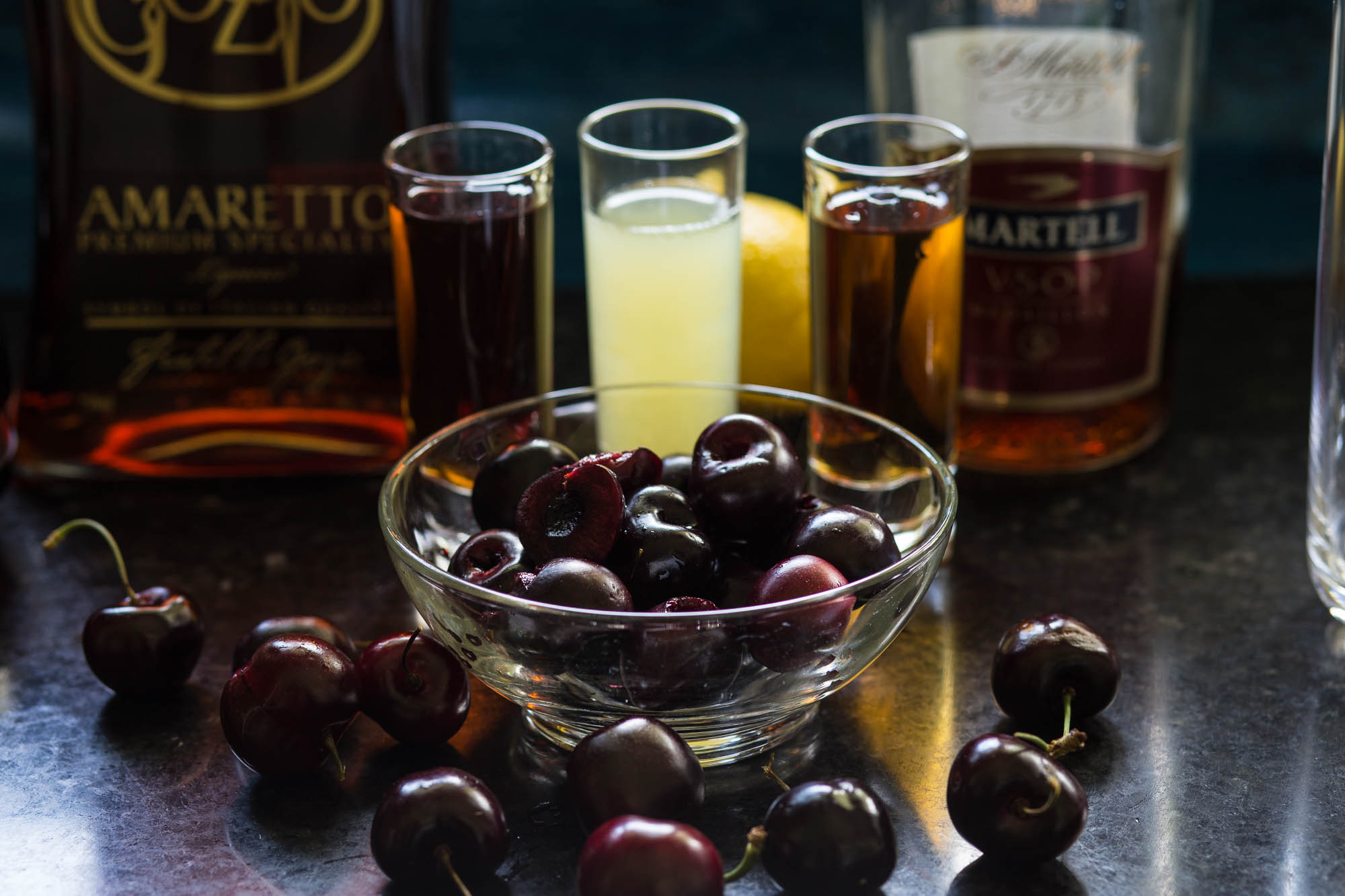 Cherry Amaretto Sidecar Cocktail ingredients|www.recipefiction.com