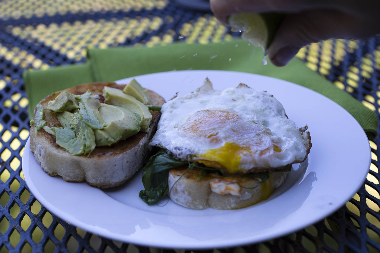 pea shoot and avocado breakfast sandwich | www.recipefiction.com