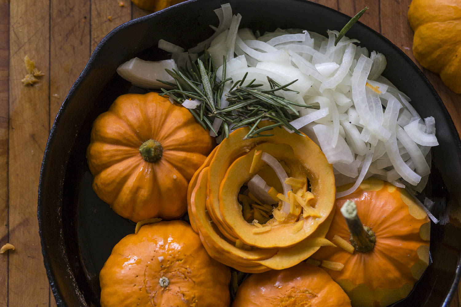 roasting mini pumpkins and onions