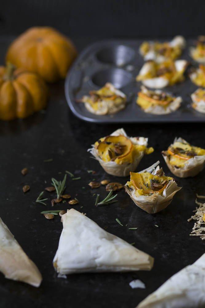 Savory Pumpkin Phyllo Tartlets