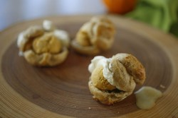 Spiced Profiteroles with Pumpkin Ice Cream and whipped cream
