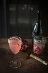 The old fashioned GF experience: fresh grapefruit and pomegranate prosecco cocktail with aromatic bitters