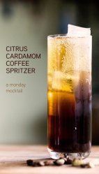 citrus coffee cardamom spritzer mocktail
