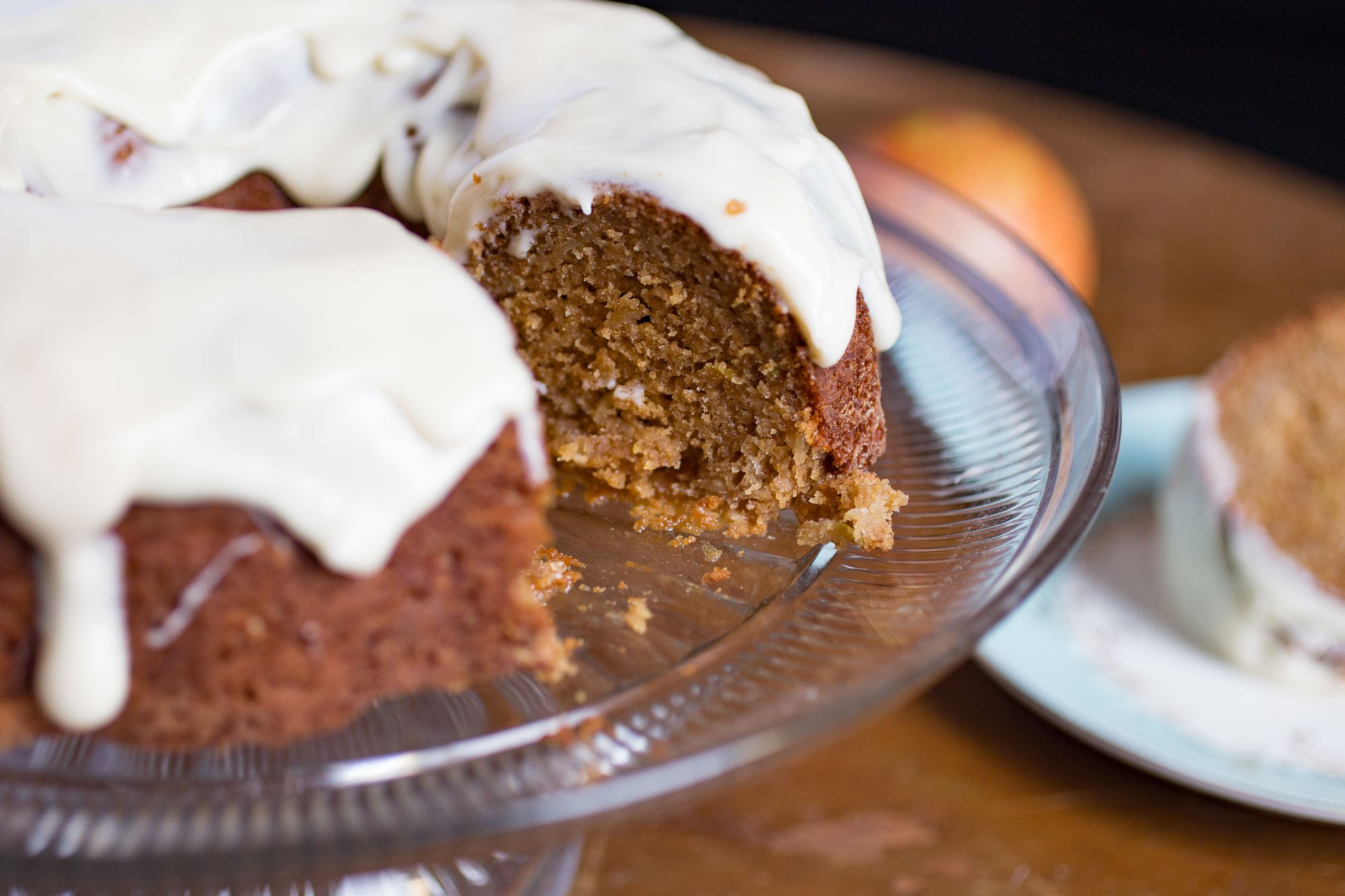 Spiced Apple Bundt Cake w/maple cream cheese frosting