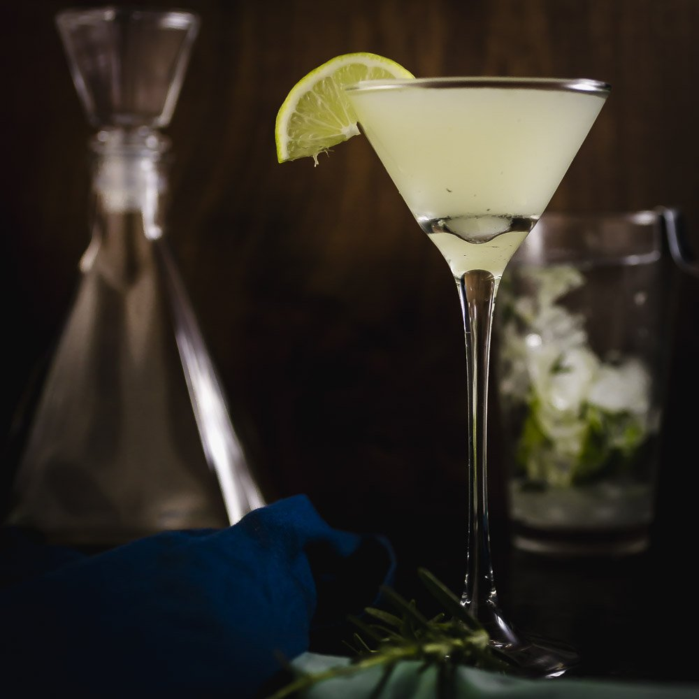 Bottoms Up Killer!: A Winter Gin Gimlet with fresh lime and rosemary
