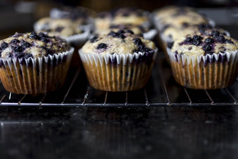 Side view of Wild Blueberry Cornbread Muffins cooling on a silver rack