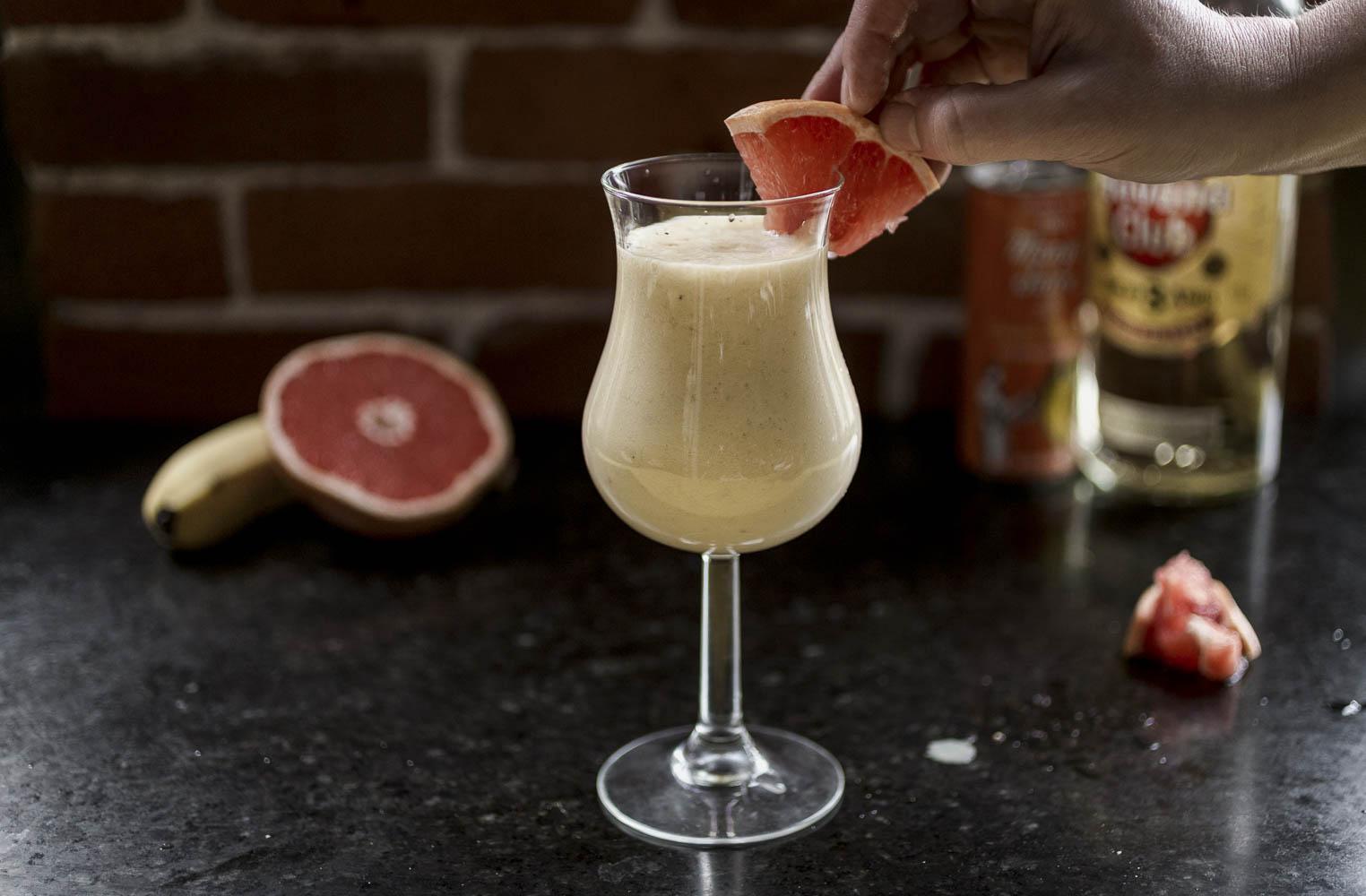 Mango Colada with banana and grapefruit