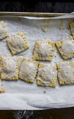 Rhubarb Pop Tarts with a cardamom glaze: ravioli style