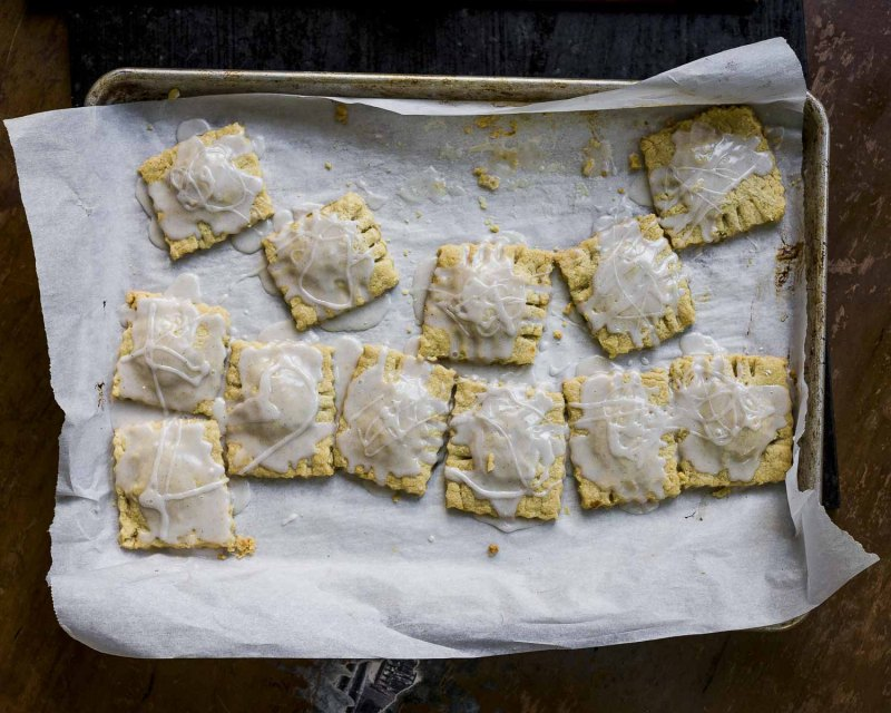 Rhubarb Pop Tarts with a cardamom glaze: made ravioli style