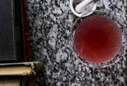 hibiscus infused vodka sidecar with a hibiscus sugar rim