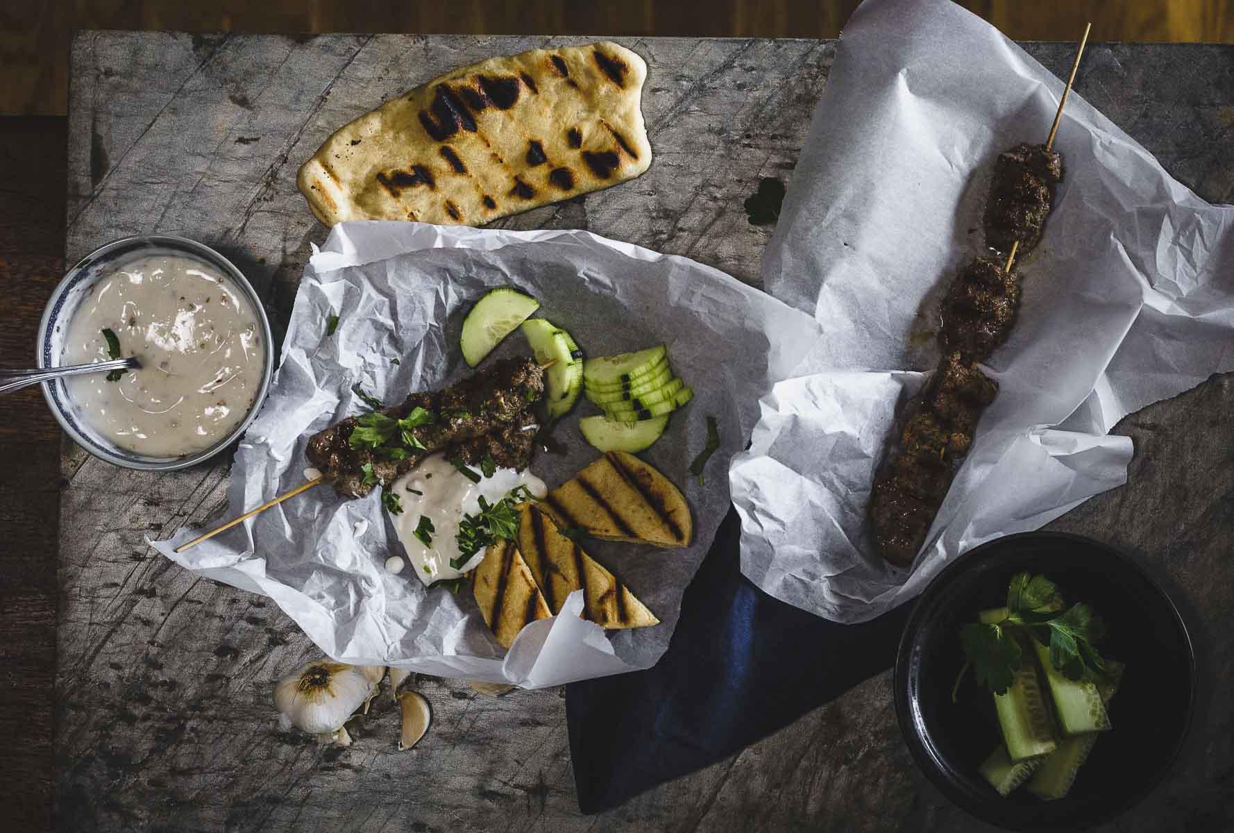 Kofta-esque: ground beef kebabs with yogurt dipping sauce