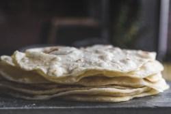 close up of homemade Bacon Fat Flour Tortillas
