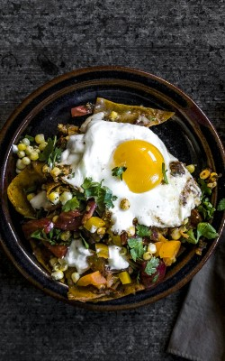 Summertime Chilaquiles with fresh tomatoes
